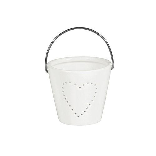 Weihnachtsdeko Teelichthalter Porzellan weiß 8x8x7cm Bild 3