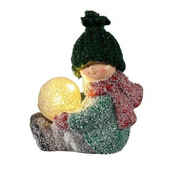 Weihnachtsdeko Terrakotta Dekofigur mit LED Kugel batteriebetrieben Bild 2
