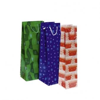 Weihnachtsgeschenktüte für Sektflaschen farblich sortiert Bild 1